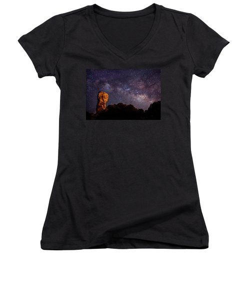 Hitchcock Pinnacle Nightscape -- Milky Way Women's V-Neck (Athletic Fit)