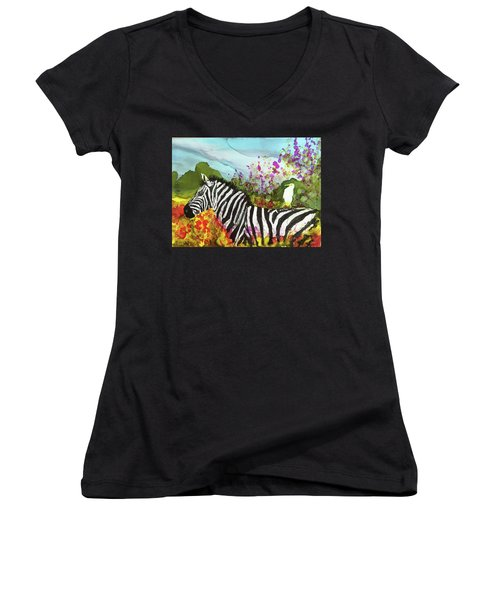 Hitching A Ride Women's V-Neck T-Shirt (Junior Cut) by Suzanne Canner