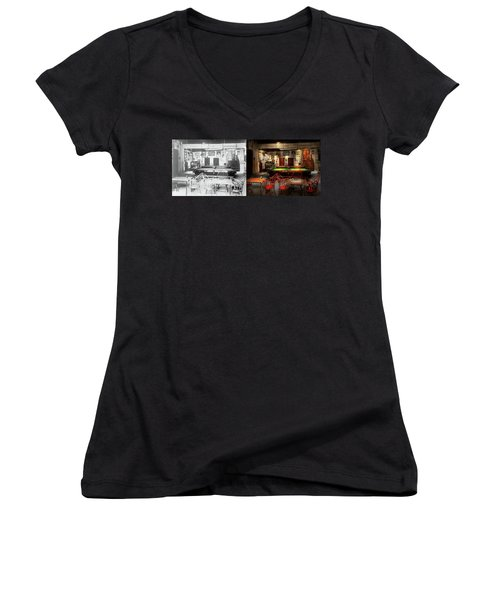 Women's V-Neck T-Shirt (Junior Cut) featuring the photograph Hobby - Pool - The Billiards Club 1915 - Side By Side by Mike Savad