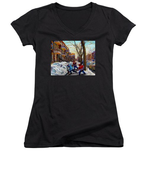 Hockey On De Bullion  Women's V-Neck T-Shirt