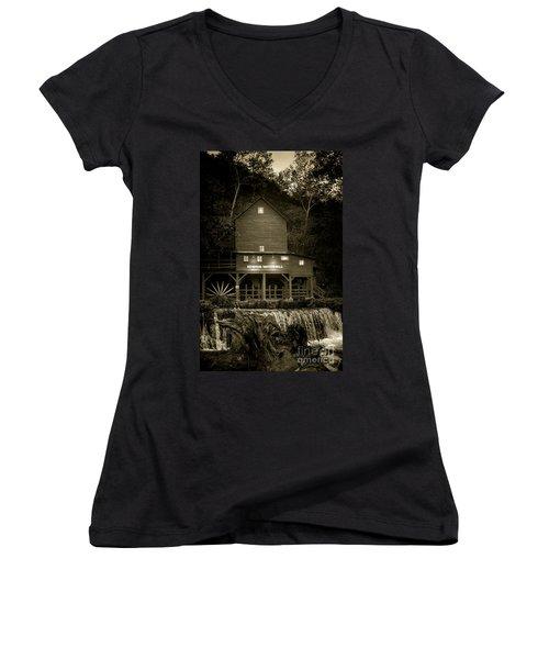 Hodgson Gristmill Women's V-Neck T-Shirt (Junior Cut) by Robert Frederick