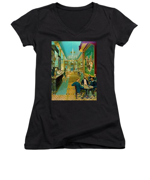 Hoffman House Bar 1890 Women's V-Neck T-Shirt (Junior Cut) by Padre Art