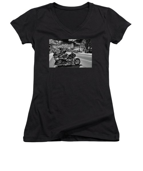 Hogs On Main Street Women's V-Neck T-Shirt (Junior Cut) by David Patterson