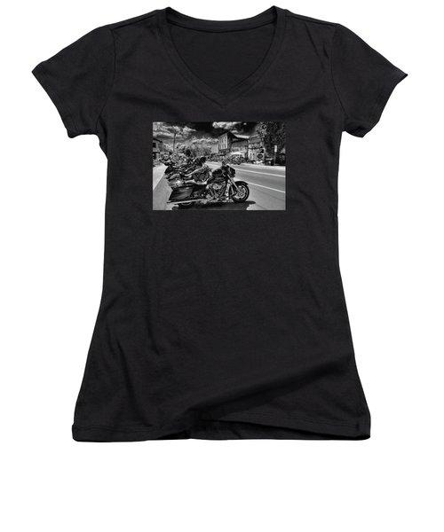 Hogs On Main Street Women's V-Neck T-Shirt