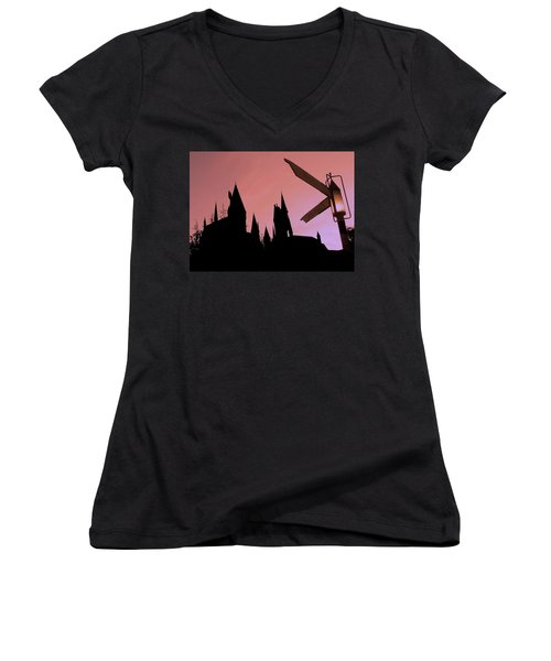 Women's V-Neck T-Shirt (Junior Cut) featuring the photograph Hogwarts Castle ... by Juergen Weiss