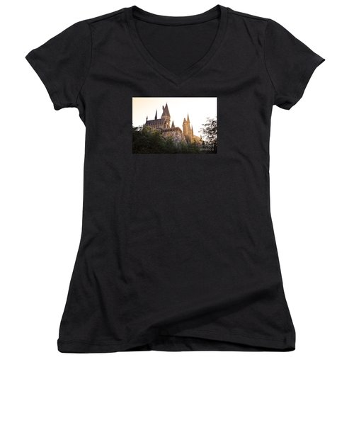 Hogwarts Dusk Women's V-Neck T-Shirt (Junior Cut) by Rebecca Parker