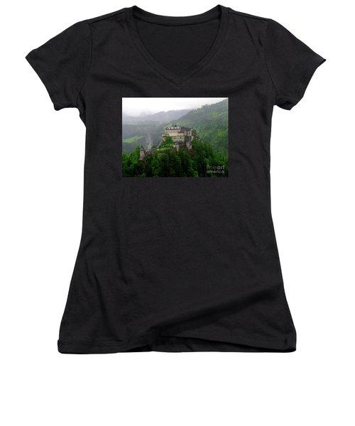 Hohenwerfen Castle Women's V-Neck T-Shirt (Junior Cut) by Sheila Ping