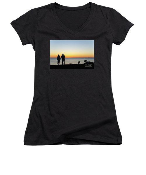 Women's V-Neck T-Shirt (Junior Cut) featuring the photograph Holding Hands By  Sunset  by Kennerth and Birgitta Kullman