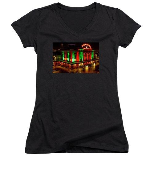 Holiday Lights At Union Station Denver Women's V-Neck T-Shirt (Junior Cut) by Teri Virbickis