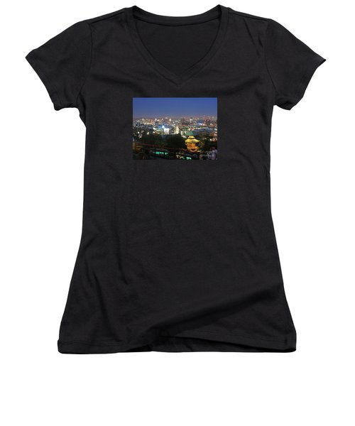 Hollywood Hills After Dark Women's V-Neck T-Shirt (Junior Cut) by Cheryl Del Toro