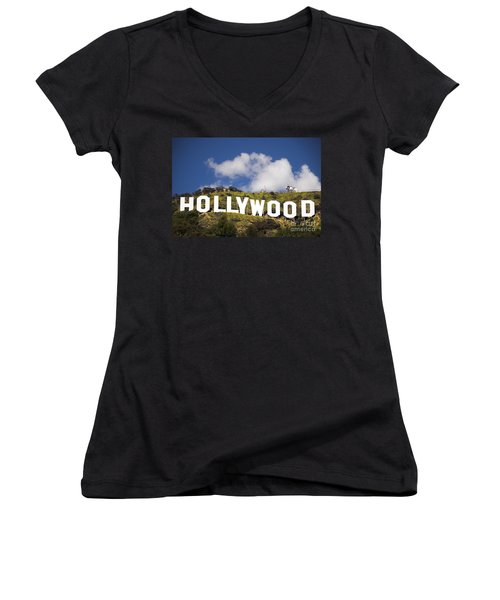 Hollywood Sign Women's V-Neck T-Shirt (Junior Cut) by Anthony Citro