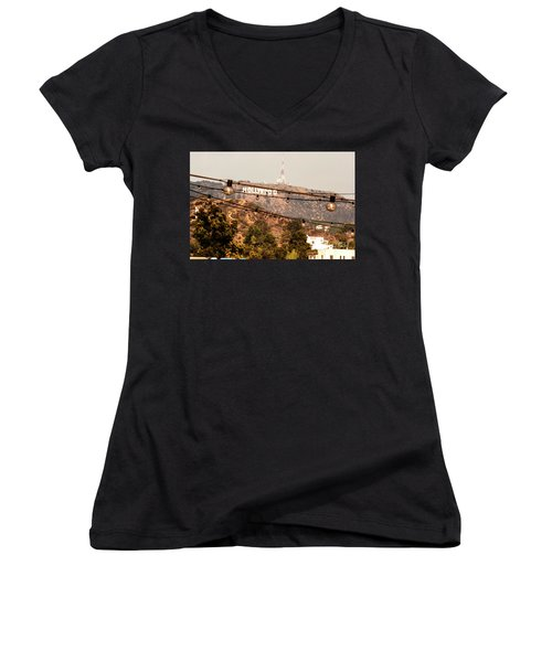 Women's V-Neck T-Shirt (Junior Cut) featuring the photograph Hollywood Sign On The Hill 3 by Micah May