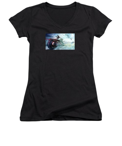 Women's V-Neck T-Shirt (Junior Cut) featuring the photograph Holy Crap That Is Fast. by Lawrence Christopher