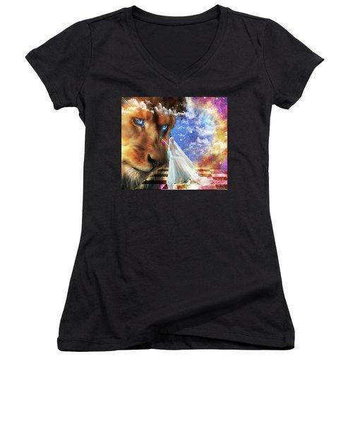 Divine Perspective Women's V-Neck T-Shirt (Junior Cut) by Dolores Develde