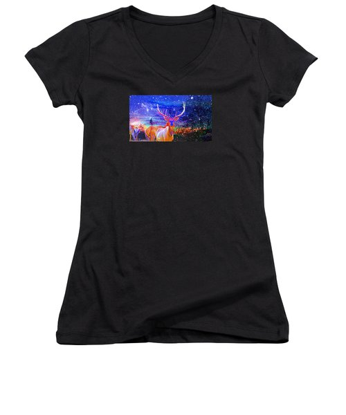 Home For The Holidays Women's V-Neck T-Shirt (Junior Cut) by Mike Breau