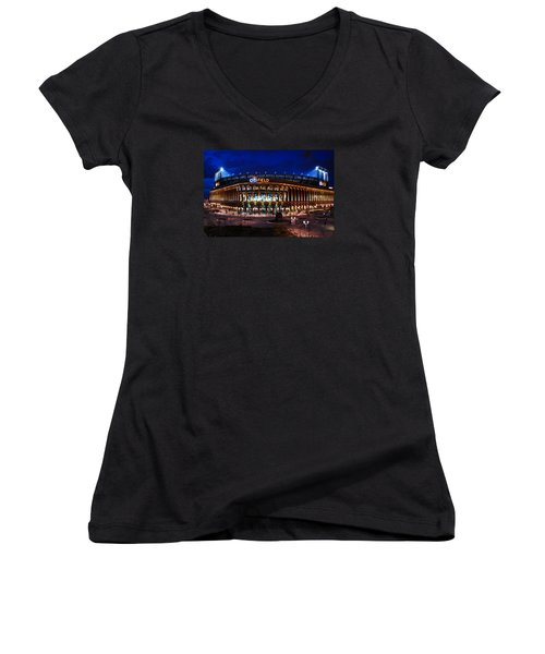 Home Of The Mets Women's V-Neck T-Shirt (Junior Cut) by James Kirkikis