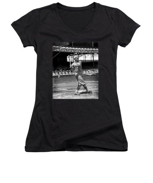 Home Run Babe Ruth Women's V-Neck T-Shirt (Junior Cut) by Jon Neidert
