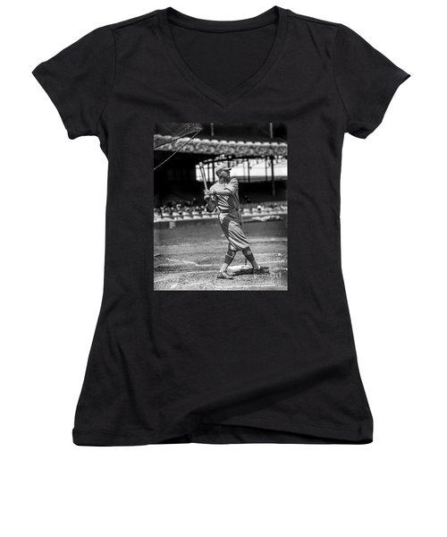 Home Run Babe Ruth Women's V-Neck T-Shirt