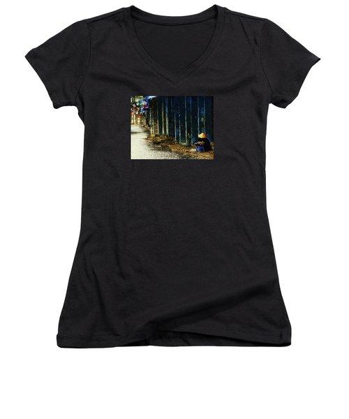 Women's V-Neck T-Shirt (Junior Cut) featuring the digital art Homeless In Hanoi by Cameron Wood