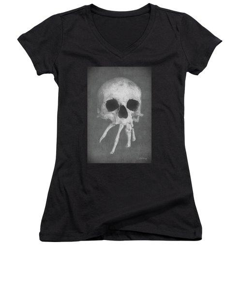 Homo Spidercus Women's V-Neck T-Shirt (Junior Cut) by Joseph Westrupp
