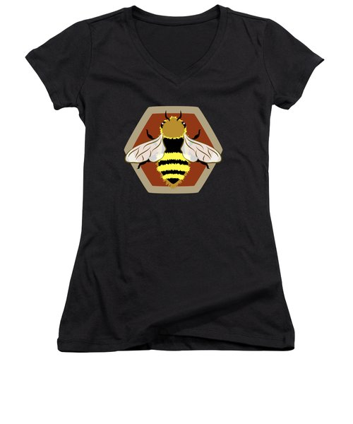 Honey Bee Graphic Women's V-Neck T-Shirt (Junior Cut) by MM Anderson