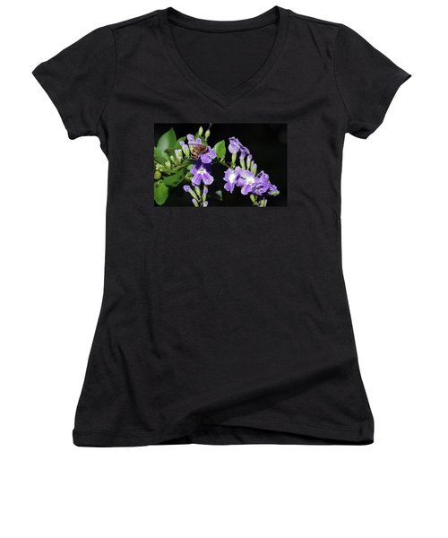 Women's V-Neck T-Shirt (Junior Cut) featuring the photograph Honeybee On Golden Dewdrop II by Richard Rizzo