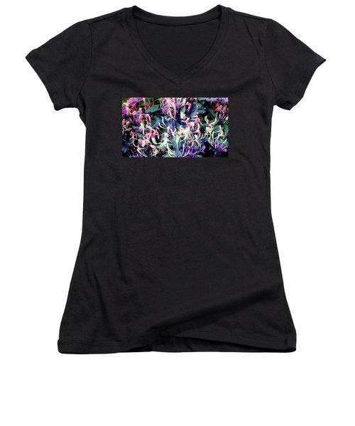 Honeysuckle Dance Women's V-Neck T-Shirt (Junior Cut) by Rachel Hannah