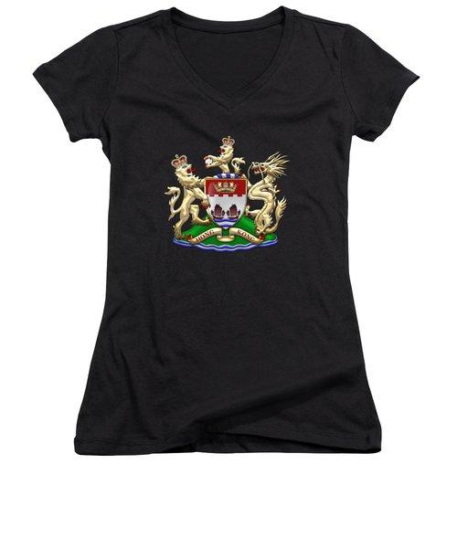 Hong Kong - 1959-1997 Coat Of Arms Over Black Leather  Women's V-Neck T-Shirt (Junior Cut)