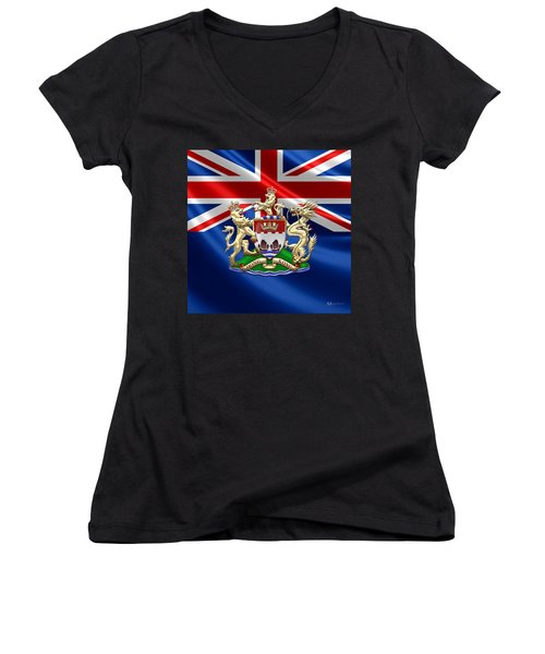 Hong Kong - 1959-1997 Coat Of Arms  Women's V-Neck T-Shirt