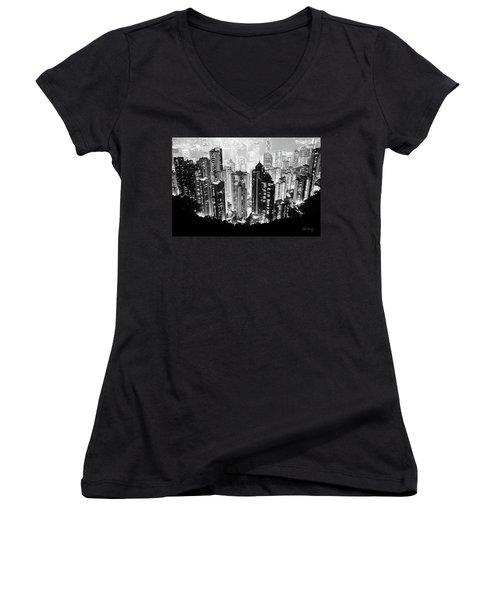 Hong Kong Nightscape Women's V-Neck T-Shirt (Junior Cut) by Joseph Westrupp