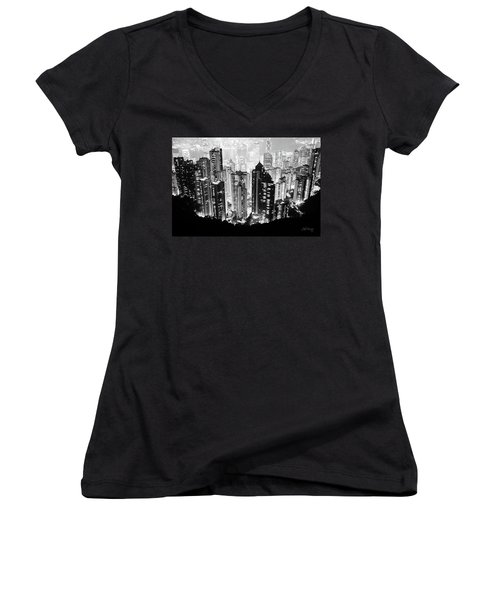 Hong Kong Nightscape Women's V-Neck (Athletic Fit)
