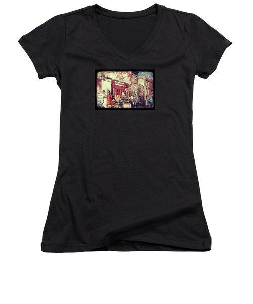 Honky Tonk Row - Nashville Women's V-Neck T-Shirt (Junior Cut) by Debra Martz