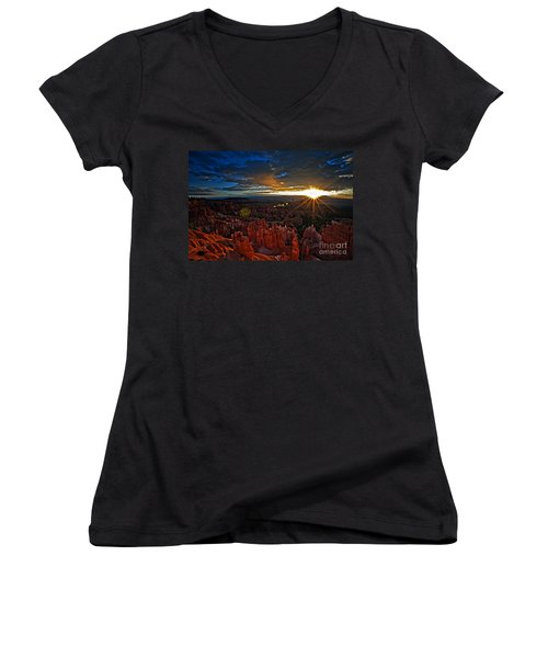 Hoodoos At Sunrise Bryce Canyon National Park Women's V-Neck (Athletic Fit)