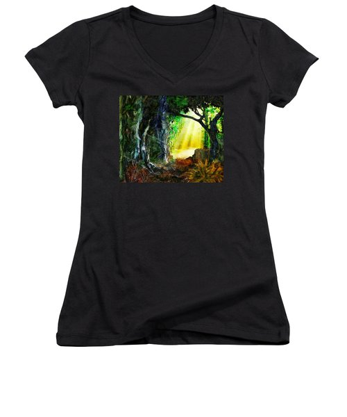 Women's V-Neck T-Shirt (Junior Cut) featuring the digital art Hope by Francesa Miller