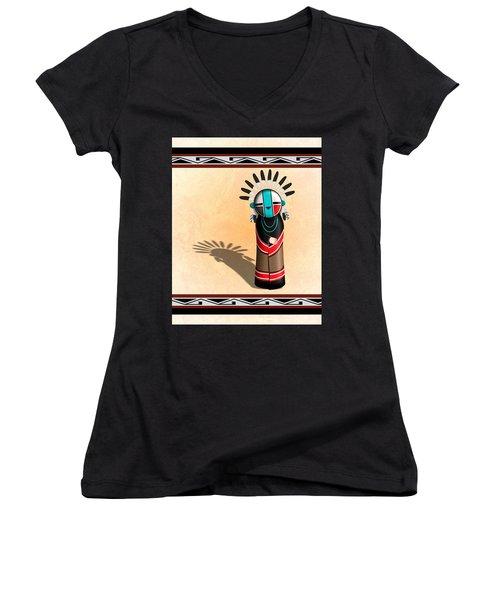 Hopi Sun Face Kachina Women's V-Neck T-Shirt