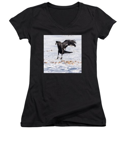 Hopping Mad Raven In The Snow Women's V-Neck T-Shirt (Junior Cut) by John Brink
