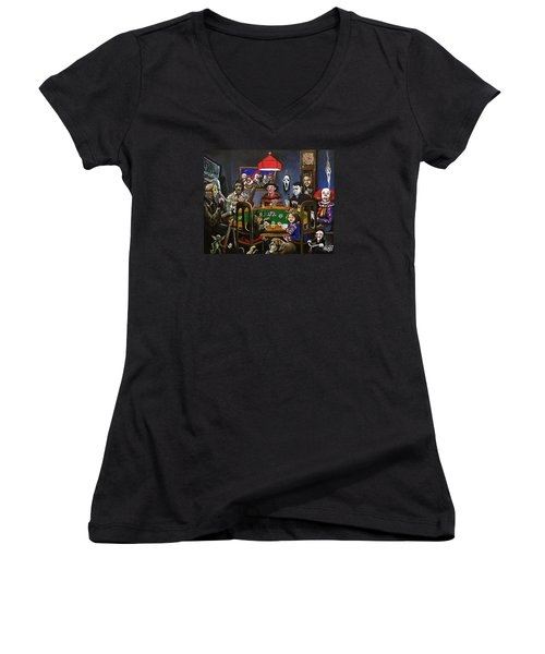 Horror Card Game Women's V-Neck T-Shirt (Junior Cut) by Tom Carlton