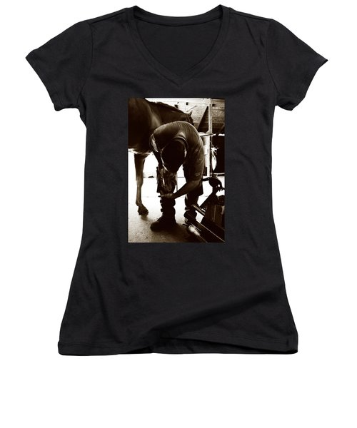 Horse And Farrier Women's V-Neck T-Shirt (Junior Cut) by Angela Rath