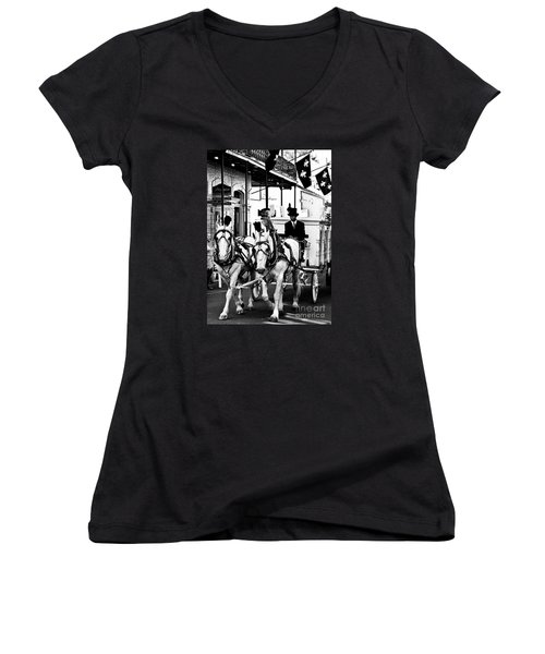 Horse Drawn Funeral Carriage Women's V-Neck T-Shirt (Junior Cut) by Kathleen K Parker