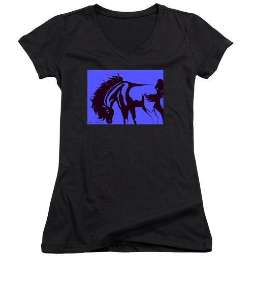 Horse In Blue And Black Women's V-Neck T-Shirt (Junior Cut) by Loxi Sibley