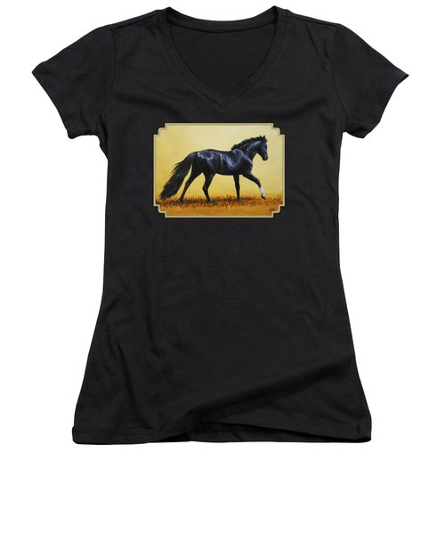 Horse Painting - Black Beauty Women's V-Neck T-Shirt (Junior Cut) by Crista Forest