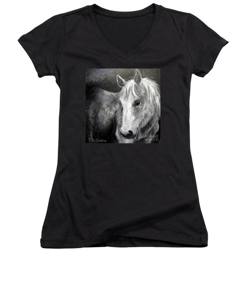 Horse With The Mona Lisa Smile Women's V-Neck (Athletic Fit)