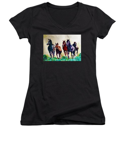 Horses In Wild Women's V-Neck T-Shirt