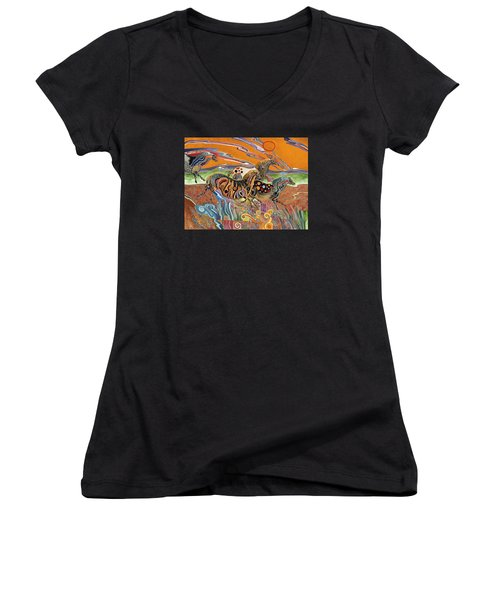 Women's V-Neck T-Shirt (Junior Cut) featuring the painting Horses Of The Ardeche Valley France by Bob Coonts