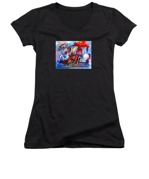 Horses On Beach Women's V-Neck T-Shirt