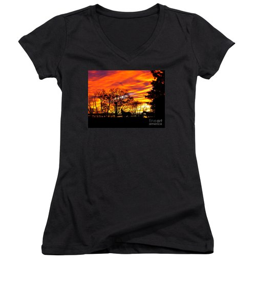 Horses Under A Painted Sky Women's V-Neck (Athletic Fit)