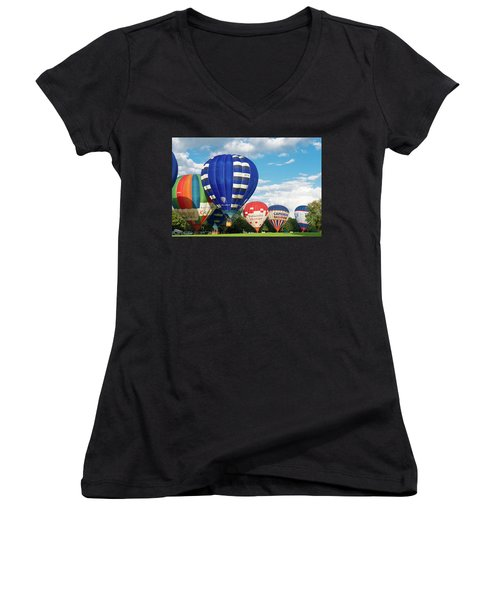Women's V-Neck T-Shirt (Junior Cut) featuring the photograph Hot Air Balloons by Hans Engbers