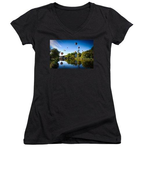 Hot Air Balloons In Queechee 2015 Women's V-Neck T-Shirt (Junior Cut) by Jeff Folger