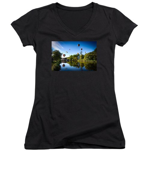 Hot Air Balloons In Quechee 2015 Women's V-Neck