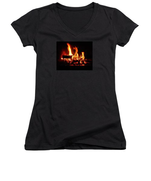 Hot Coals Women's V-Neck T-Shirt (Junior Cut) by Steve Godleski